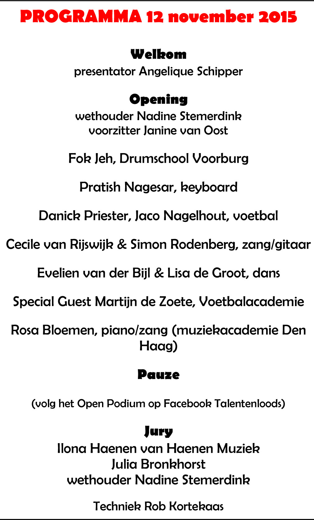 Programma Open Podium 12-11-2015
